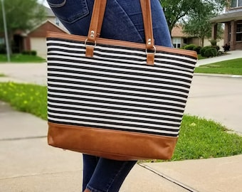 Work Bag Women, Work Tote, Laptop Bag, Everyday Bag, Travel Bag, Faux Leather Bag, Canvas Bag, Black and White Stripe, Water Resistant Bag