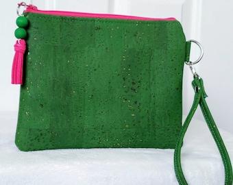 Pink and Green Wristlet, Wristlet Bag, Cork Leather, Wristlet, Clutch Purse, Handbag, Ivy Leaf, AKA Inspired, Alpha Kappa Alpha Inspired