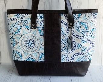 Canvas Tote Bag, Work Bag, Everyday Tote, Diaper Bag, Travel Bag, Waterproof, Blue Paisley, Brown Faux Leather, Handbags, Personalized Tote