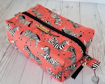 Orange Makeup Bag, Zebra Print, Cosmetic Bag, Toiletry Bag Women, Makeup Box Bag, Makeup Case, Cosmetic Pouch, Makeup Pouch, Large Bag