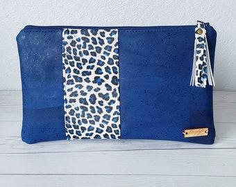 Blue Clutch, Cork Clutch, Cork Purse, Cork Bag, Cork Wristlet, Cork Crossbody, Snake Skin, Vegan Leather, Leather Clutch, Cork Gift