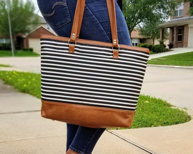 Featured listing image: Work Bag Women, Work Tote, Laptop Bag, Everyday Bag, Travel Bag, Faux Leather Bag, Canvas Bag, Black and White Stripe, Water Resistant Bag