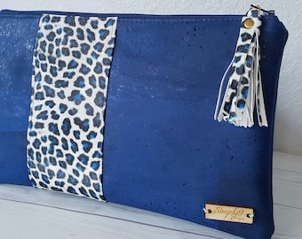 Blue Clutch, Cork Clutch, Cork Purse, Cork Bag, Cork Wristlet, Cork Crossbody, Snake Skin, Vegan Leather, Leather Clutch, Cork Gift