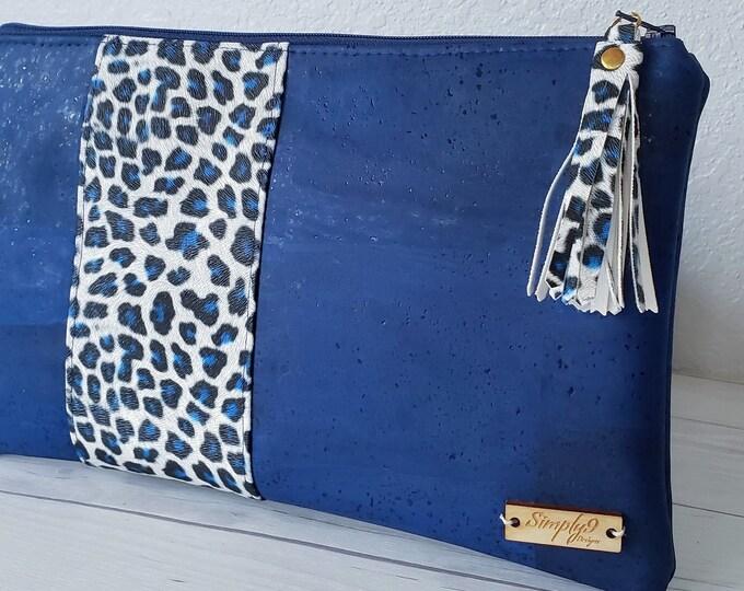Featured listing image: Blue Clutch, Cork Clutch, Cork Purse, Cork Bag, Cork Wristlet, Cork Crossbody, Snake Skin, Vegan Leather, Leather Clutch, Cork Gift