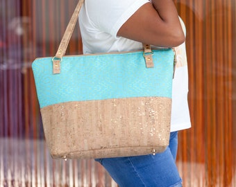 Work Bag Women, Work Tote, Laptop Bag, Cork Bag, Everyday Bag, Travel Bag, Canvas Tote, Teal, Cork Handbag, Cork Purse, Cork Fabric