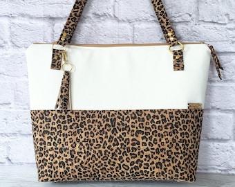 Work Bag, Work Tote, Leopard Print, Laptop Bag, Cork Bag, Everyday Bag, Vegan Leather, White Bag, Cork Handbag, Cork Purse, Cork Fabric