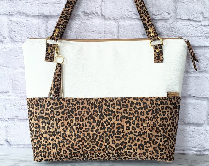 Featured listing image: Work Bag, Work Tote, Leopard Print, Laptop Bag, Cork Bag, Everyday Bag, Vegan Leather, White Bag, Cork Handbag, Cork Purse, Cork Fabric