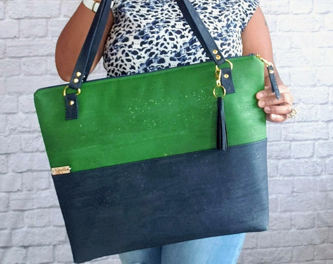 Featured listing image: Cork Bag, Green and Blue Bag, Work Bag, Laptop Bag, Cork Purse, Work Tote, Cork Handbag, Work bag for women, Cork Fabric Purse, Cork Leather