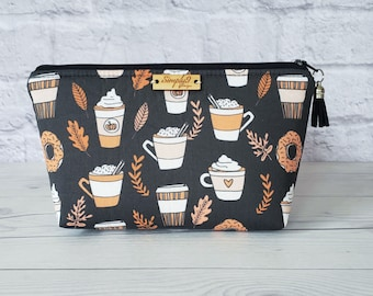 Makeup Bag, Pumpkin Spice Makeup Bag, Multi Color Makeup Bag, Fall, Cosmetic Bag, Toiletry Bag Women, Makeup Box Bag, Small Bag