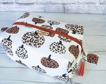 Leopard Makeup Bag, Pumpkin Makeup Bag, Orange Makeup Bag, Leopard and Pumpkin, Cosmetic Bag, Toiletry Bag Women, Makeup Box Bag