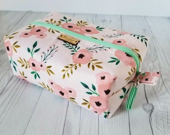 Pink Makeup Bag, Floral Makeup Bag, Cosmetic Bag, Toiletry Bag Women, Makeup Box Bag, Makeup Case, Cosmetic Pouch, Makeup Pouch, Large Bag