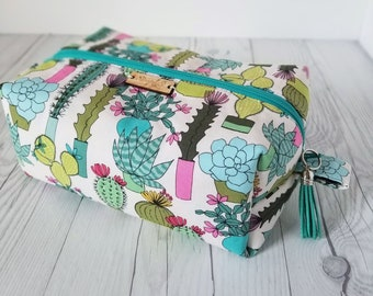 Cactus Makeup Bag, Cactus Gift, Cosmetic Bag, Toiletry Bag Women, Makeup Box Bag, Makeup Case, Cosmetic Pouch, Makeup Pouch, Makeup Bag