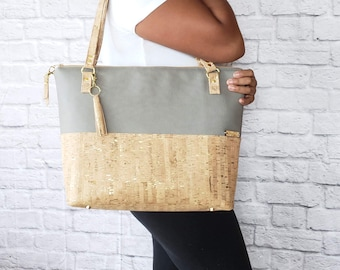 Work Bag Women, Work Tote, Laptop Bag, Cork Bag, Everyday Bag, Travel Bag, Faux Leather Bag, Taupe, Cork Handbag, Cork Purse, Cork Fabric