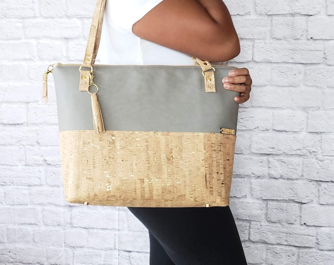 Featured listing image: Work Bag Women, Work Tote, Laptop Bag, Cork Bag, Everyday Bag, Travel Bag, Faux Leather Bag, Taupe, Cork Handbag, Cork Purse, Cork Fabric