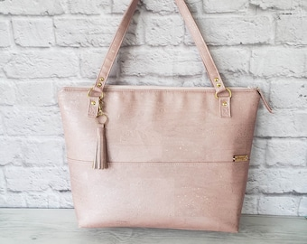 Pink Handbag, Pink Tote, Work Bag, Cork Purse, Cork Handbag, Cork Tote, Everyday Bag, Handbag for women, Laptop bag, Cork Leather