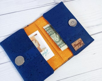 Cobalt Blue, Cork Wallet, Slim Wallet, Small Wallet, Credit Card Wallet, Credit Card Case, Business Card Wallet, Cork Fabric, Blue Wallet