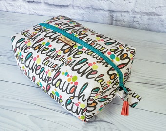Makeup Bag, Live Laugh Love  Makeup Bag, Multi Color Makeup Bag, Fall, Cosmetic Bag, Toiletry Bag Women, Makeup Box Bag, Large Bag
