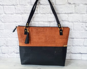 Black Handbag, Brown Tote, Work Bag, Cork Purse, Cork Handbag, Cork Tote, Everyday Bag, Handbag for women, Laptop bag, Cork Leather