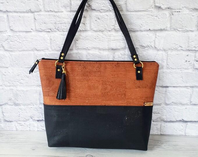 Featured listing image: Black Handbag, Brown Tote, Work Bag, Cork Purse, Cork Handbag, Cork Tote, Everyday Bag, Handbag for women, Laptop bag, Cork Leather