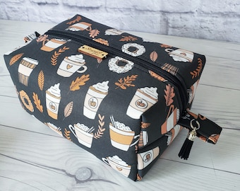 Makeup Bag, Pumpkin Spice Makeup Bag, Multi Color Makeup Bag, Fall, Cosmetic Bag, Toiletry Bag Women, Makeup Box Bag, Large Bag