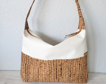 Large Hobo Bag - White Vegan Leather - Cork Leather