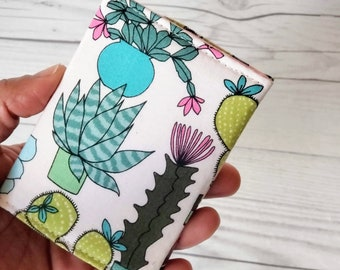 Cactus Wallet, Slim Wallet, Small Wallet, Credit Card Wallet, Credit Card Case, Business Card Wallet, Wallet Keychain, Cactus Gifts