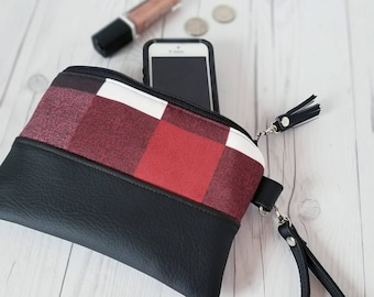 Wristlet Wallet, Plaid Wristlet, Maroon Wristlet, Womens Wallet, Faux Leather, Small Crossbody, Phone Wallet, Wristlet Purse, Bridesmaid