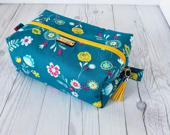 Floral Makeup Bag, Teal Makeup Bag, Cosmetic Bag, Toiletry Bag Women, Makeup Box Bag, Makeup Case, Cosmetic Pouch, Makeup Pouch, Large Bag