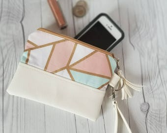 Pink Teal Pastel Wristlet - Wristlet Wallet - Womens Wallet - Faux Leather - Small Crossbody - Phone Wallet - Wristlet Purse - Geometric