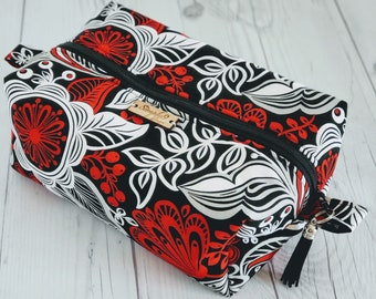 Red Black Makeup Bag, Floral Print, Cosmetic Bag, Toiletry Bag Women, Makeup Box Bag, Makeup Case, Cosmetic Pouch, Makeup Pouch, Makeup Gift