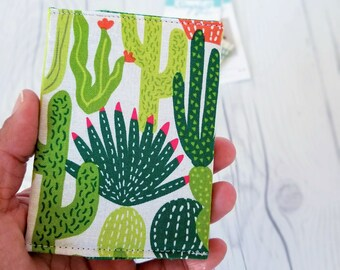 Cactus Wallet, Green Slim Wallet, Small Women Wallet, Business Card Wallet, Credit Card Wallet, Credit Card Case, Keychain, Cactus Gifts