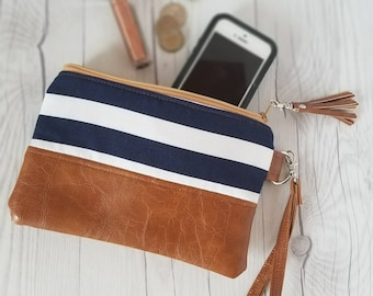 Navy Blue Striped Wristlet, Denim Wristlet, Wristlet Wallet, Womens Wallet, Small Clutch, Faux Leather, Small Crossbody, Phone Wallet, Purse