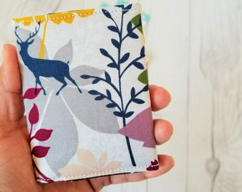 Floral Wallet, Deer Wallet, Wallet Keychain, Small Women Wallet, Business Card Wallet, Credit Card Wallet, Credit Card Case, Blue and Yellow