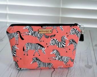 Makeup Bag, Zebra Print, Orange Bag, Cosmetic Bag, Toiletry Bag Women, Makeup Box Bag, Makeup Case, Cosmetic Pouch, Makeup Pouch, Zebra Gift