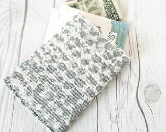 Gray Wallet, Pink Wallet, Polka Dot Wallet, Small Women Wallet, Business Card Wallet, Credit Card Wallet, Credit Card Case, Wallet Keychain