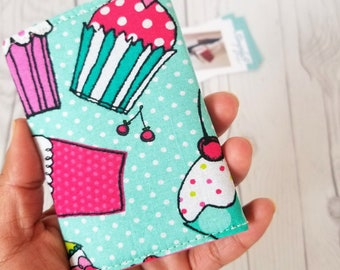 Cupcake Wallet, Small Wallet, Small Women Wallet, Business Card Wallet, Credit Card Wallet, Credit Card Case, Wallet Keychain, Cupcake Gifts