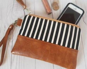 Black White Striped Wristlet - Wristlet Wallet - Womens Wallet - Faux Leather - Small Crossbody - Phone Wallet - Wristlet Purse - Bridesmaid