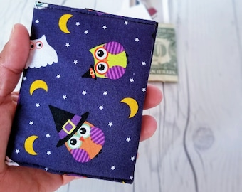 Owl Wallet, Halloween Wallet, Orange Polka Dot Wallet, Small Women Wallet, Business Card Wallet, Credit Card Wallet, Owl Gifts, Gift Holder