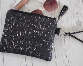 Cork Purse, Cork Wallet, Cork Bag, Cork Wristlet, Cork Clutch, Cork Gold, Cork Silver, Black Cork, Cork Leather, Cork Gifts, Black Wristlet