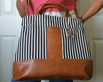 Black White Striped, Brown Faux Leather Bag, Crossbody, Tote, Diaper, Beach, Travel, Work, Market, Travel, Laptop, Bags, Bag, Handbag, Purse