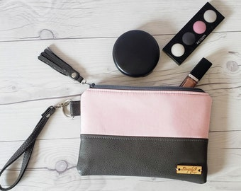Gray Pink Blush Wristlet - Wristlet Wallet - Womens Wallet - Faux Leather - Small Crossbody - Phone Wallet - Wristlet Purse - Bridesmaid