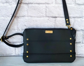 Black Crossbody, Wristlet Clutch, Clutch, Black Vegan Leather, Black Leather, Wristlet Bag, Wristlet Purse, Clutch Purse, Clutch Bag, Gold