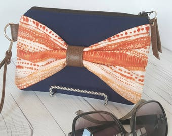 Bow Wristlet - Orange Navy Blue Wristlet Wallet - Bow Bag - Womens Wallet - Faux Leather - Small Crossbody - Phone Wallet - Wristlet Purse