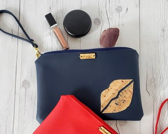 Wristlet Clutch, Navy Blue, Cork Leather, Faux Leather, Wristlet Bag, Wristlet Purse, Clutch Purse, Clutch Bag, Crossbody Bag, Pouch Zipper,