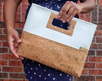 Cork Purse, Clutch Purse, Cork Clutch, Cork Leather, White Faux Leather, Cork Bag, Cork Handbag, Cork Fabric, Cork Gold, Cork Silver, Gift