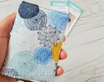 Floral Wallet, Teal Yellow Blue Wallet, Small Women Wallet, Business Card Wallet, Credit Card Wallet, Credit Card Case, Wallet Keychain