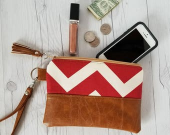 Red Chevron Wristlet - Wristlet Wallet - Womens Wallet - Faux Leather - Small Crossbody - Phone Wallet - Wristlet Purse - Bridesmaid Gift