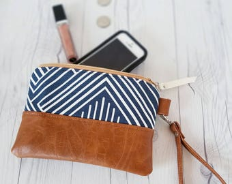 Navy Blue Wristlet, Wristlet Wallet, Womens Wallet, Faux Leather, Small Crossbody, Phone Wallet, Wristlet Purse, Geometric, Bridesmaid