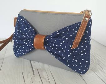 Bow Wristlet - Gray Navy Blue Wristlet Wallet - Bow Bag - Womens Wallet - Faux Leather - Small Crossbody - Phone Wallet - Wristlet Purse