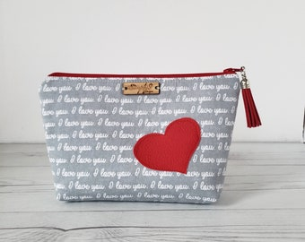 Makeup Bag, I love you, Heart, Makeup Case, Cosmetic Pouch, Makeup Pouch, Galentines Gift Day, Galentines Gift, Valentines Gift